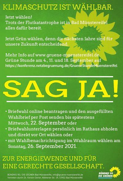 Vorderseite des Wahlkampfflyers der Grünen Bad Münstereifel